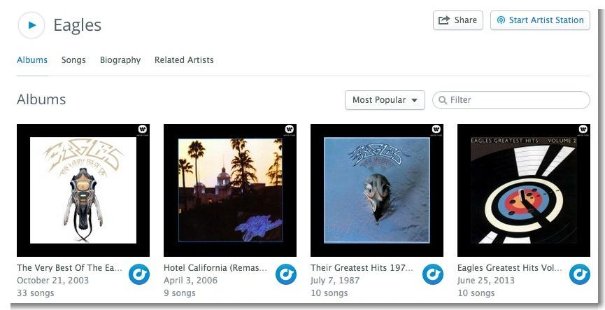 Albums by Eagles – Rdio