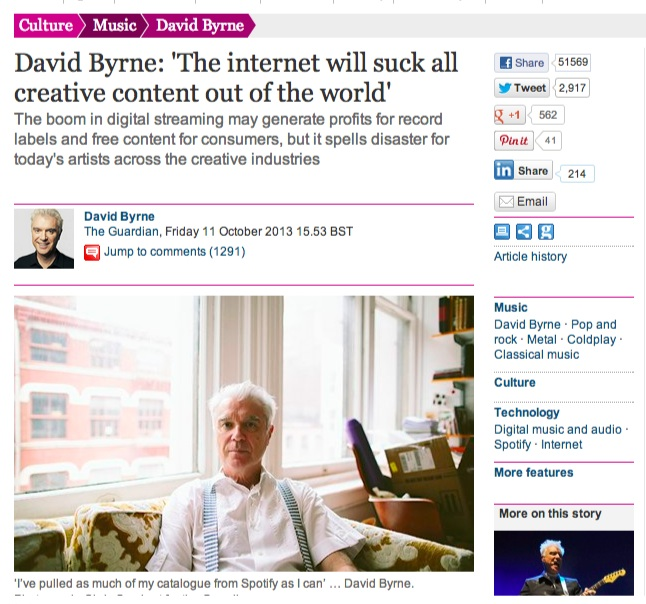 David Byrne  'The internet will suck all creative content out of the world'   Music   The Guardian