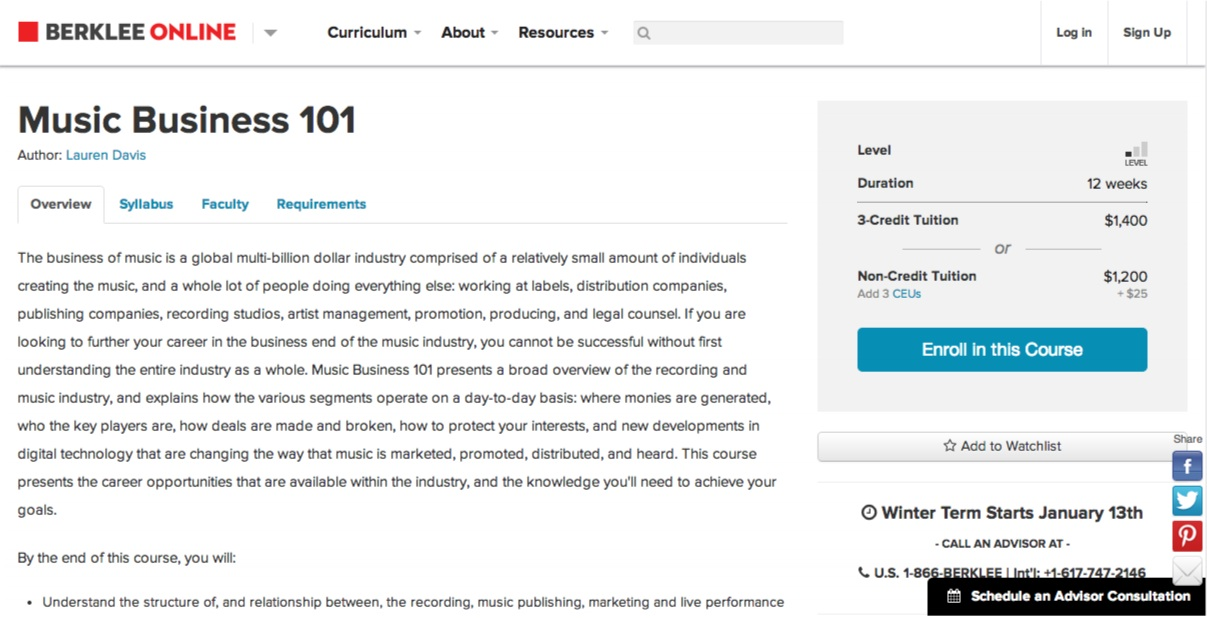 Music Business 101 - Berklee Online