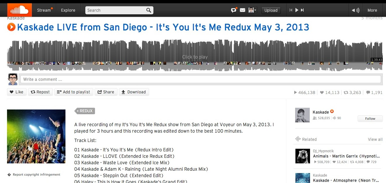 Kaskade LIVE from San Diego - It's You It's Me Redux May 3, 2013 by Kaskade on SoundCloud - Hear the world's sounds