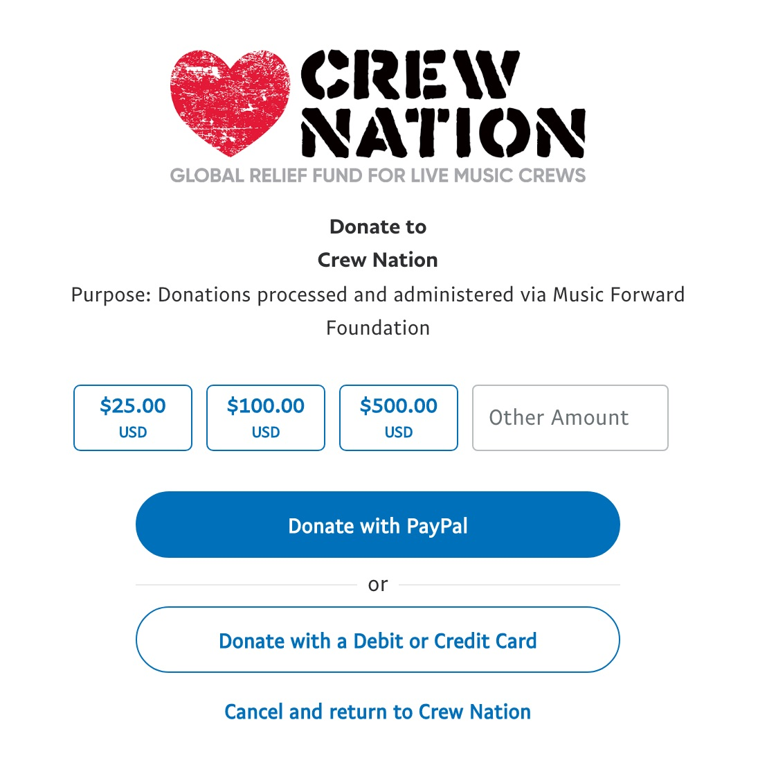 Crew Nation Donation